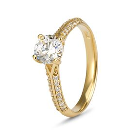 9kt Yellow Gold Cubic Zirconia Solitaire Pave' Ring (0.50ct)