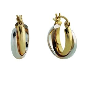 9kt Two Tone Fancy Hoop Earrings (13mm)